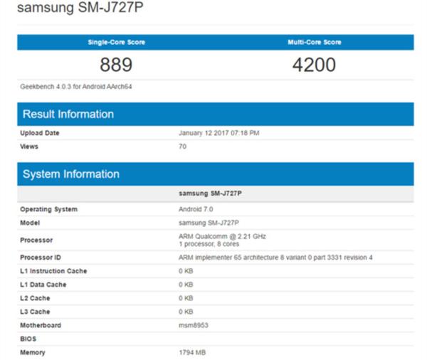 三星新Galaxy J7曝出:2GB运行内存 骁龙626