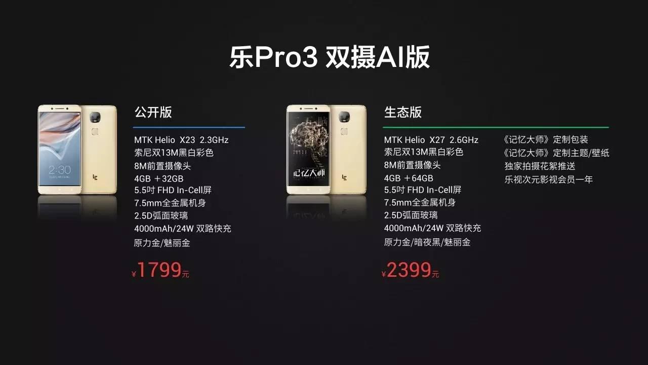 1799元!乐视电视AI手机上—乐Pro3双摄像头AI版公布