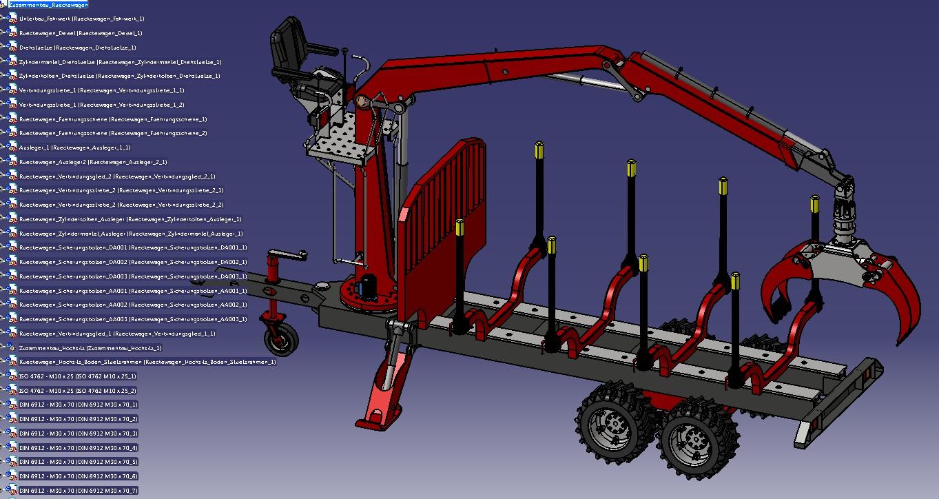 木材拖车模型3D图纸 STP和IGS格式