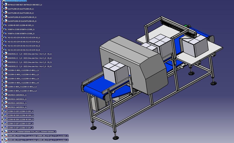 带金属探测的输送机模型3D图纸 STP格式