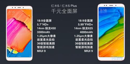 1000元全面屏手机/799元起 红米5/5 Plus公布