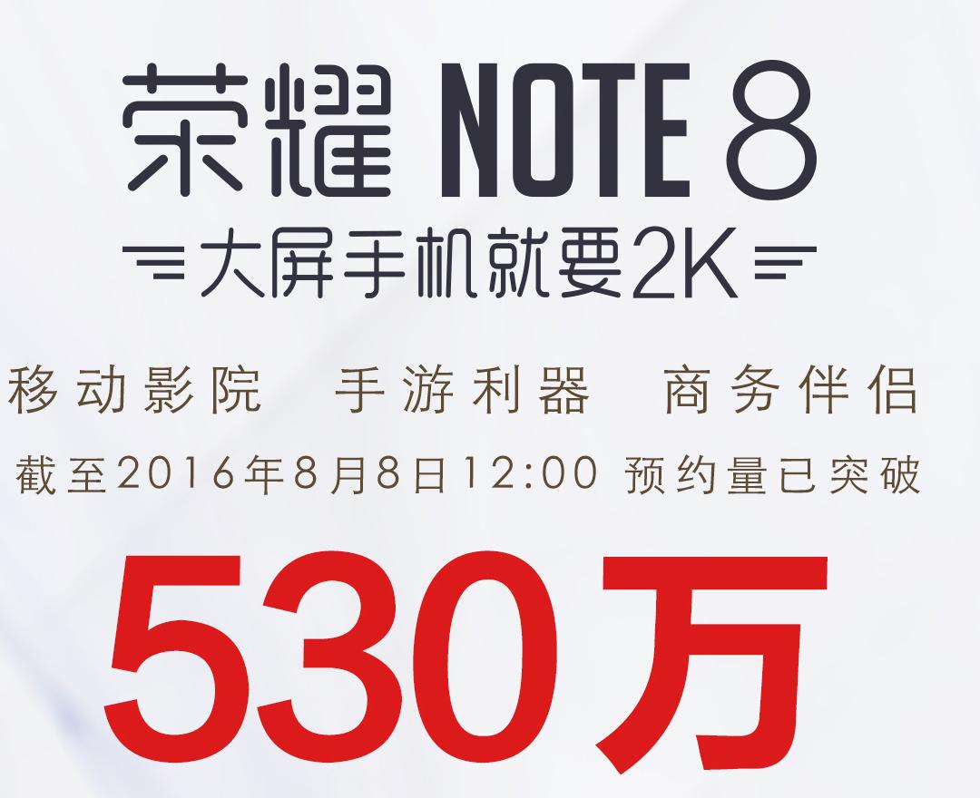 麒麟955 6.6英寸!荣誉NOTE8预定量发布:有一定量现货交易