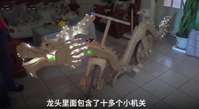 牛人!历时10个月,用22000根雪糕棍自制一辆可以骑行的龙形自行车