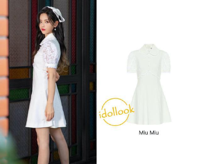 杨超越开挂了!MiuMiu复古连衣裙,细节满分凸显好身材?