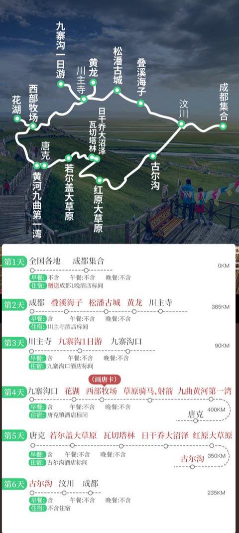 川北5日游自驾路书:成都+九寨沟+黄龙+若尔盖,线路景点住宿安排