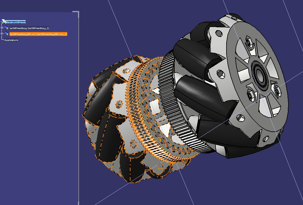 mecanum wheels一对麦克纳姆轮3D数模图纸 STEP格式