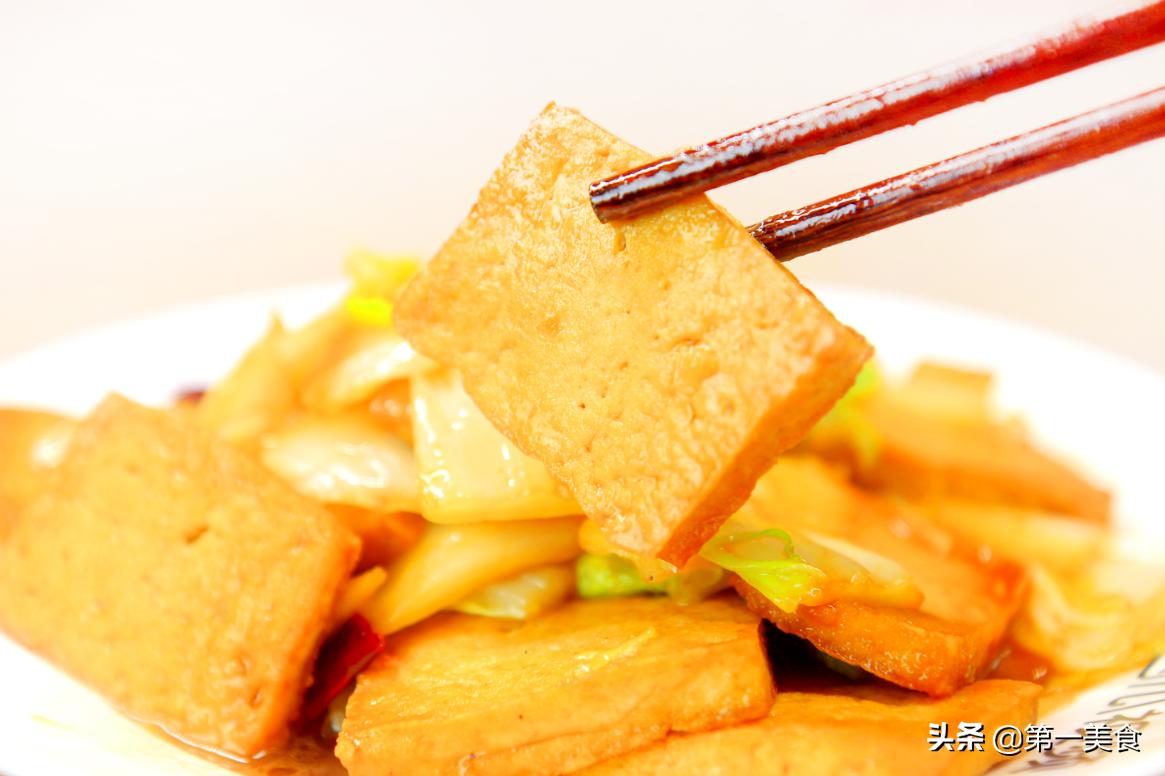 1黄1白有食欲,酒店大厨教你做白菜豆腐,煎豆腐3个技巧不粘锅