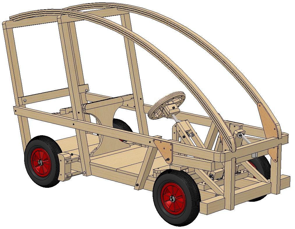 Soapbox木质四轮框架3D图纸 Solidworks设计