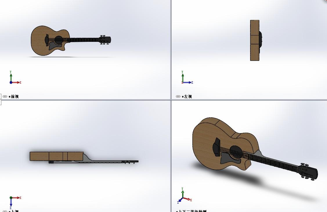 Guitar普通吉他简易模型3D图纸 Solidworks设计