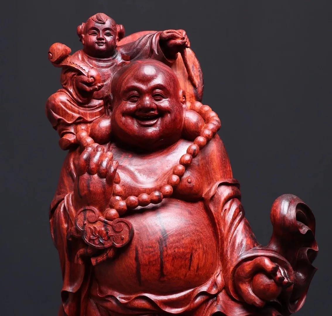 大欢喜——弥勒携子!喜庆无比的紫檀木雕!为手工喝彩!