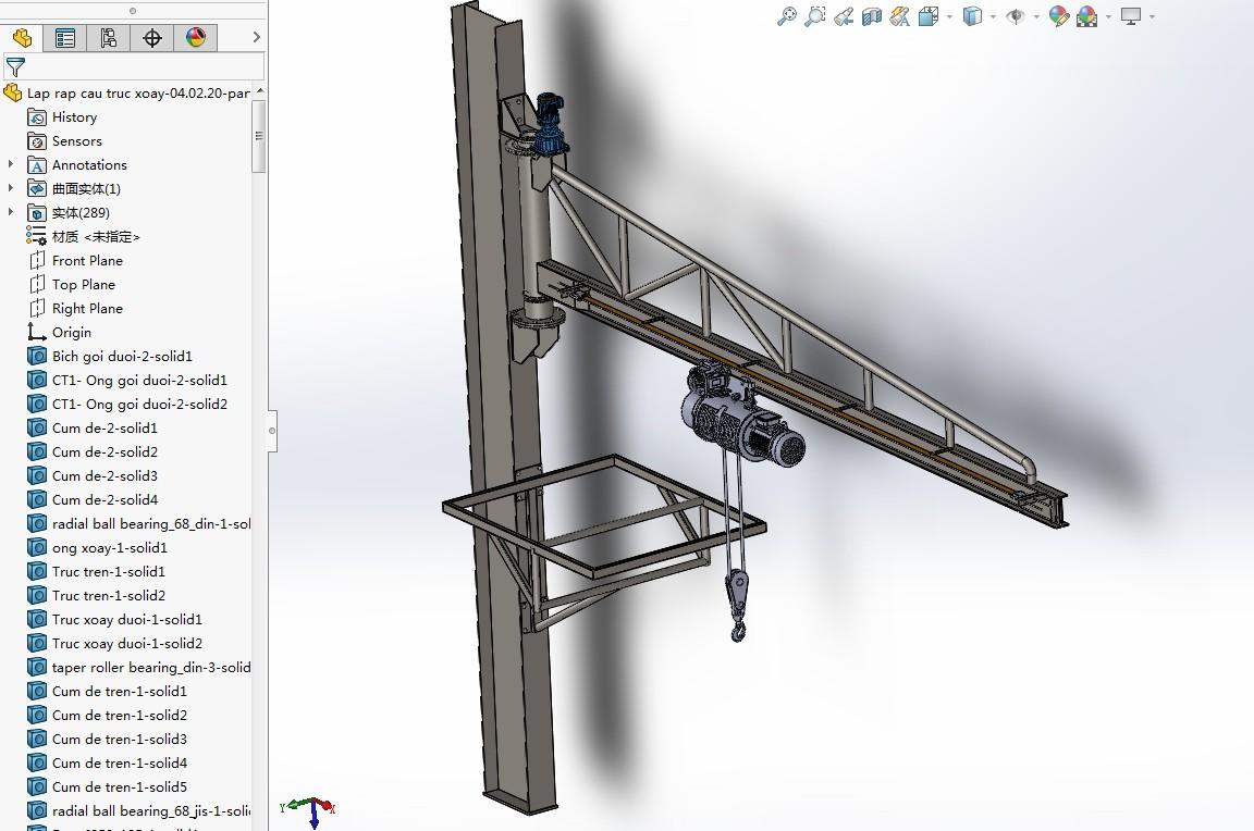 jib-crane臂式起重机吊机3D图纸 Solidworks设计 附STEP