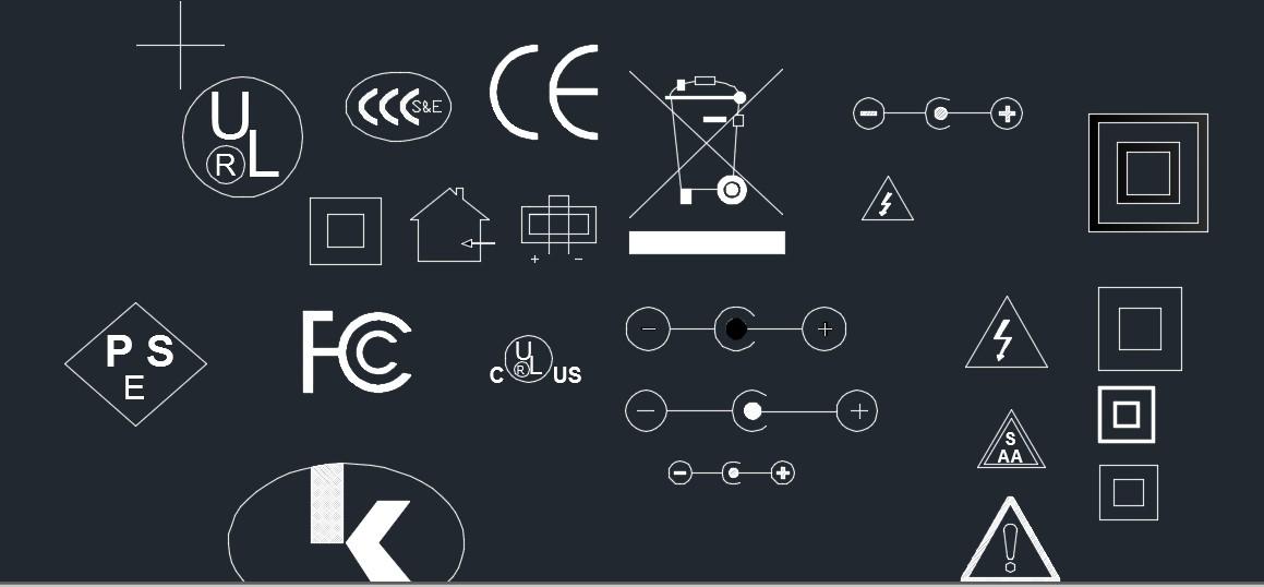 常用认证标志、三防标志CAD图纸 dwg格式