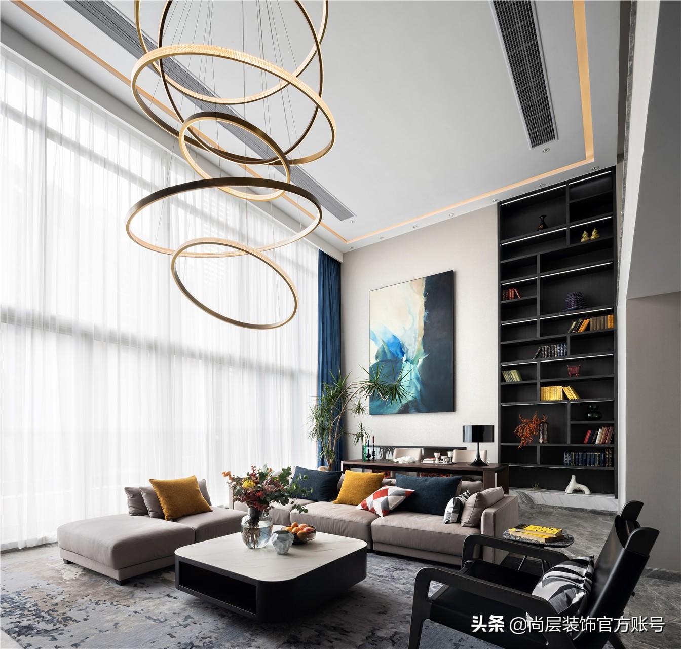 高級灰+下沉式露臺,年輕夫妻600㎡的新家裝修,詮釋時尚摩登質感