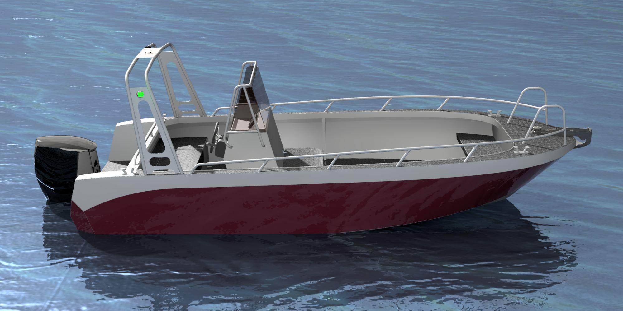 a600-aluminium铝壳船小游艇3D数模图纸 STP