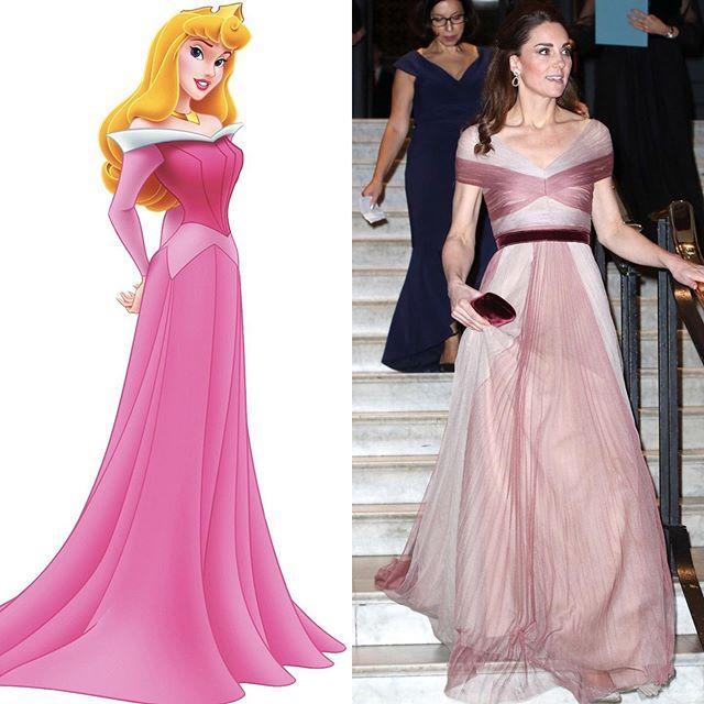 凯特王妃VS迪士尼公主高定礼服造型,高贵典雅范儿,谁更好看?