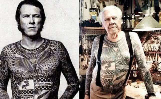 纹身老了后的恶心图片