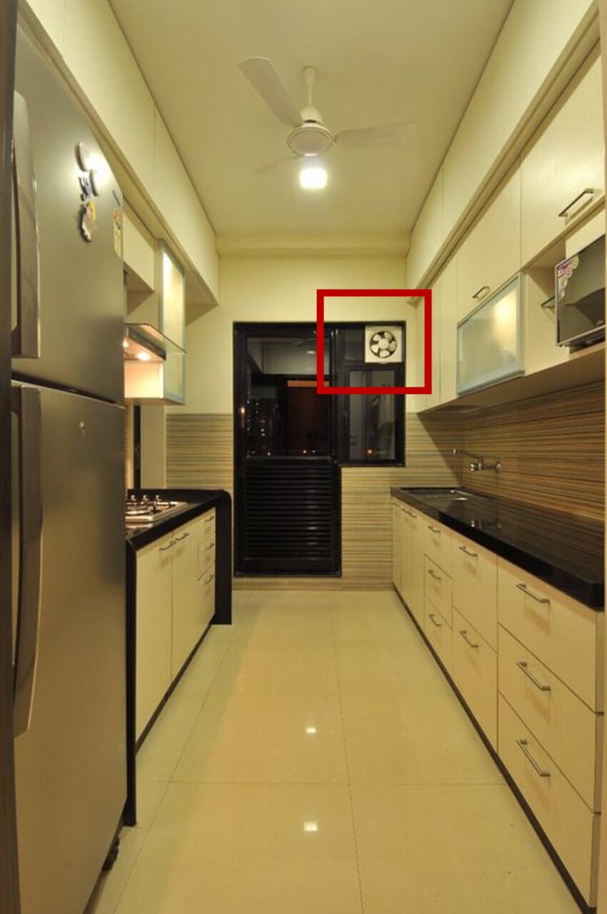 厨房没吊顶吃这点亏,排烟扇得装移门上,有经验的:不如换油烟机