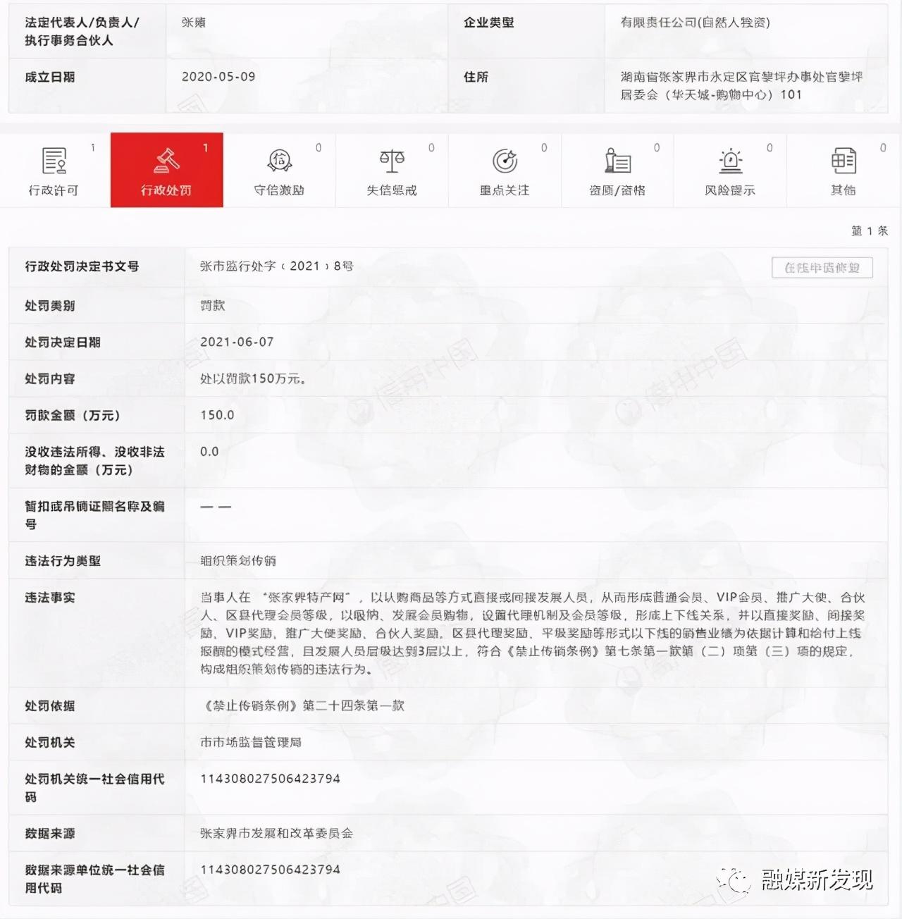 """""""张家界特产网""""因""""组织策划传销""""被罚款150万元"""