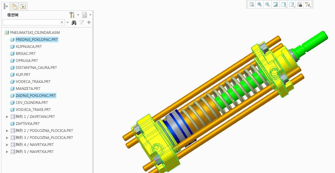 Pneumatski Cilindar气缸3D数模图纸 PROE设计 附STP