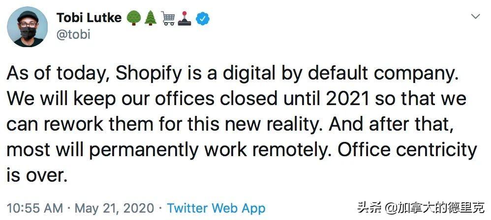 脸书 Twitter Shopify宣布永久在家办公!全员WFH时代正式来临!