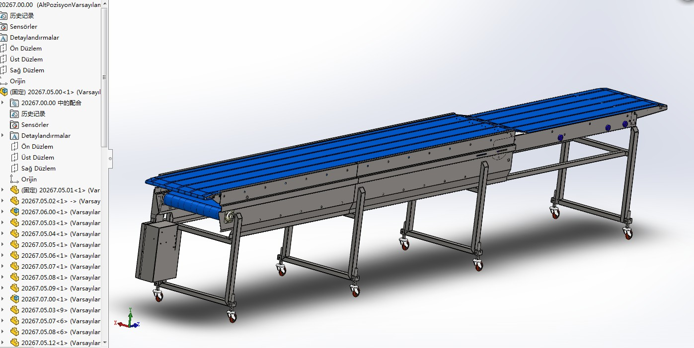 伸缩传送带输送机3D模型图纸 Solidworks设计