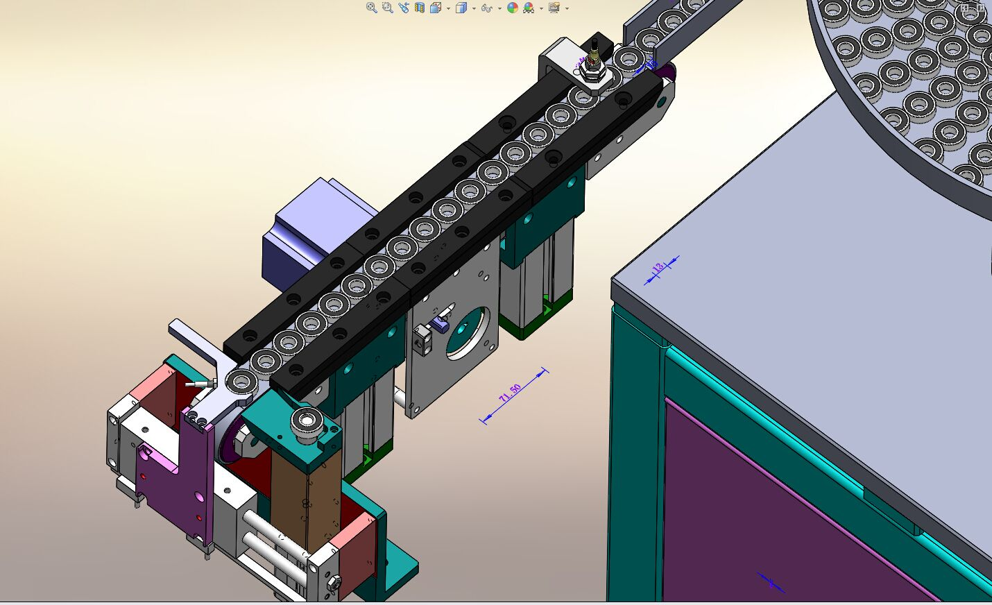 轴承振动盘和输送带分料结构3D模型图纸 Solidworks设计
