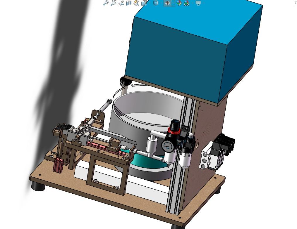 双跳灯开关滑块压入机(震动盘送料半自动压装机)3D图 Solidworks