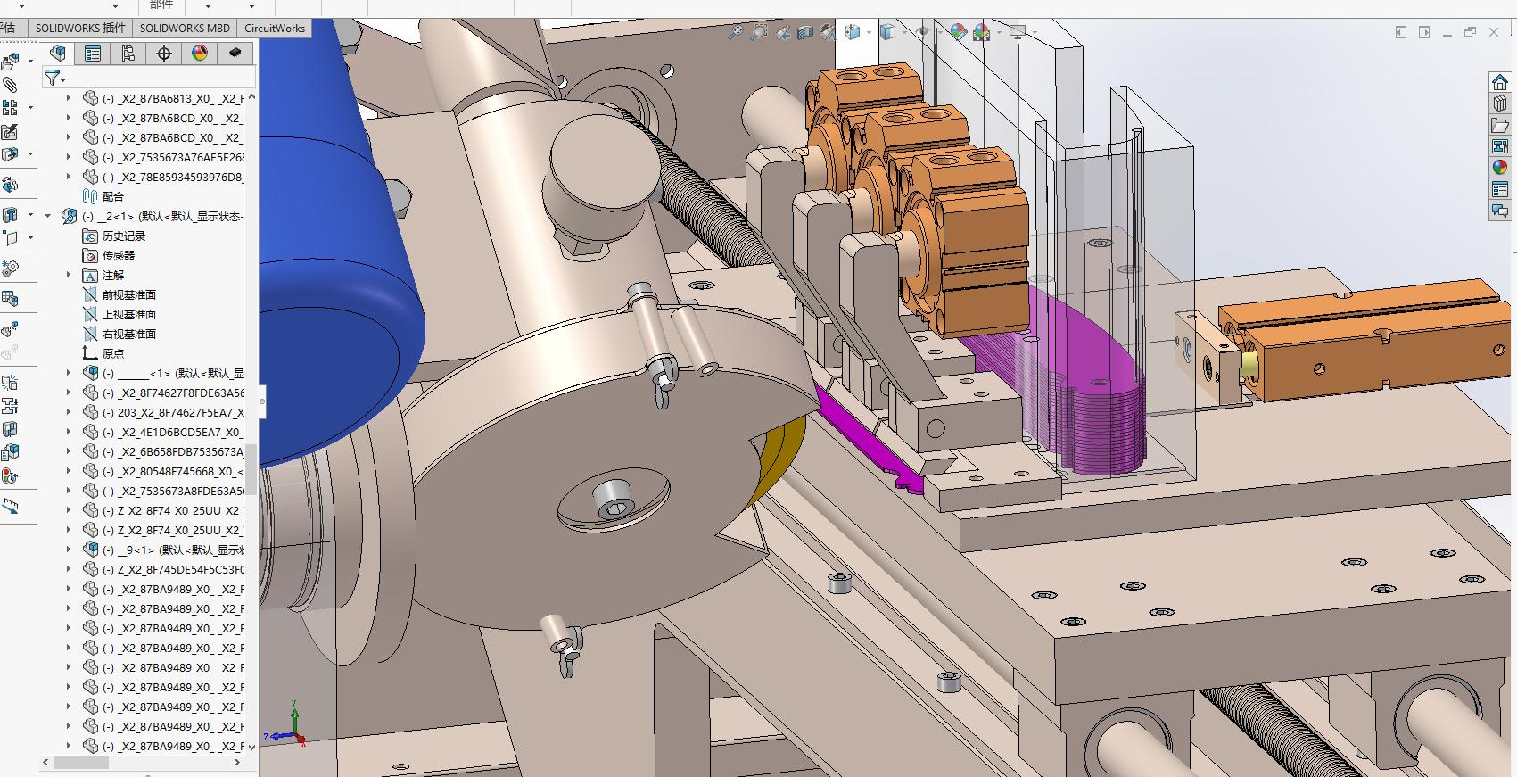 叶片磨削机(气缸推动自动送料)3D图纸 Solidworks设计