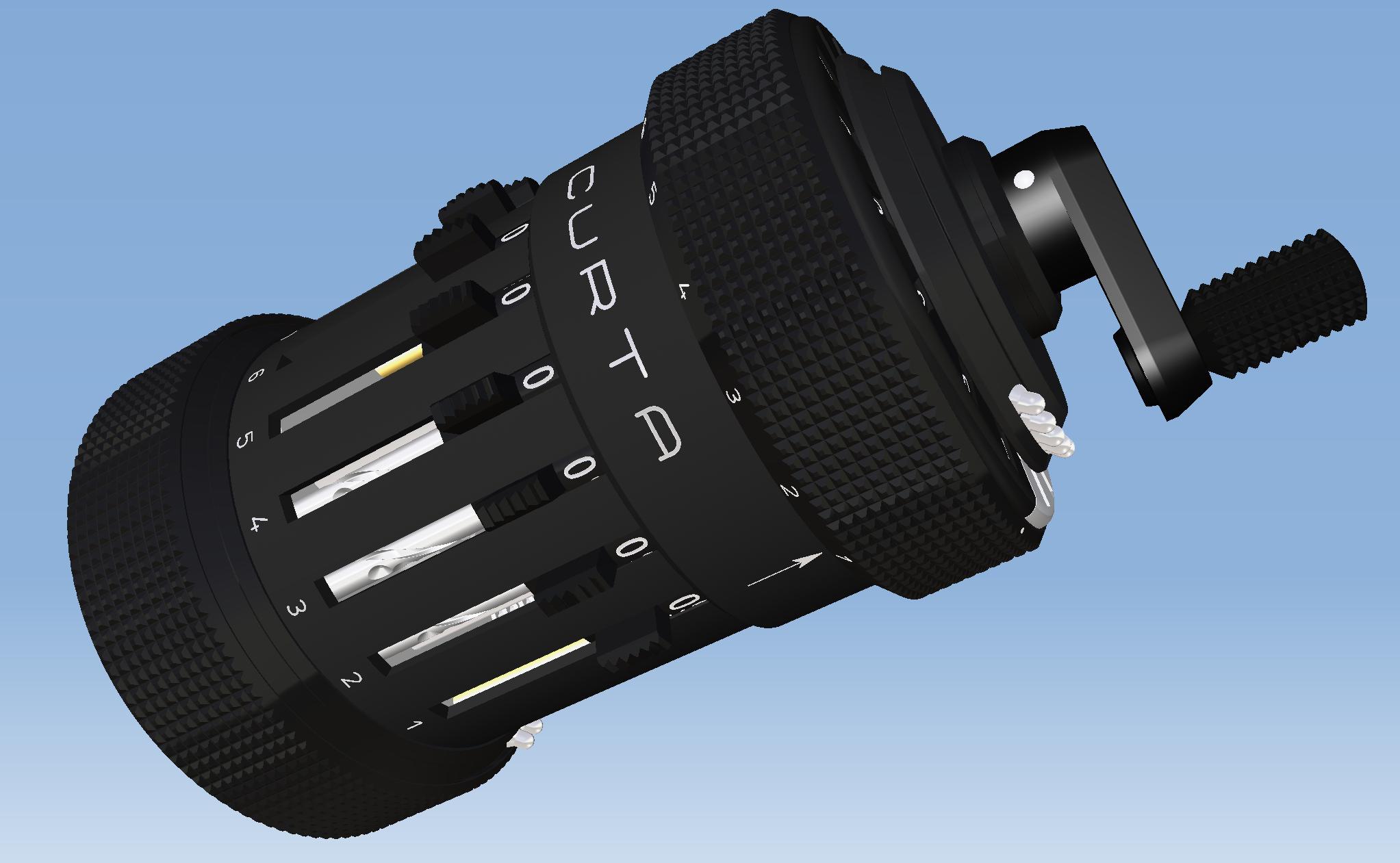 手持机械式计算器Curta三维建模图纸(Dammers版)STP格式