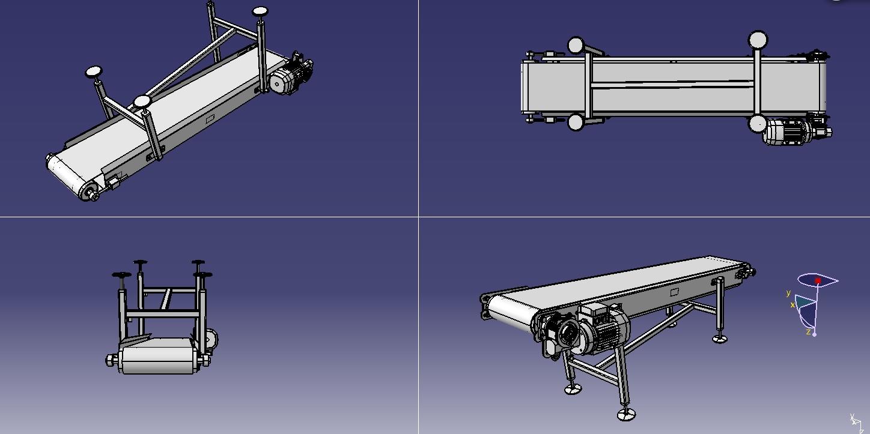 斜坡皮带输送机3D模型图纸 igs格式