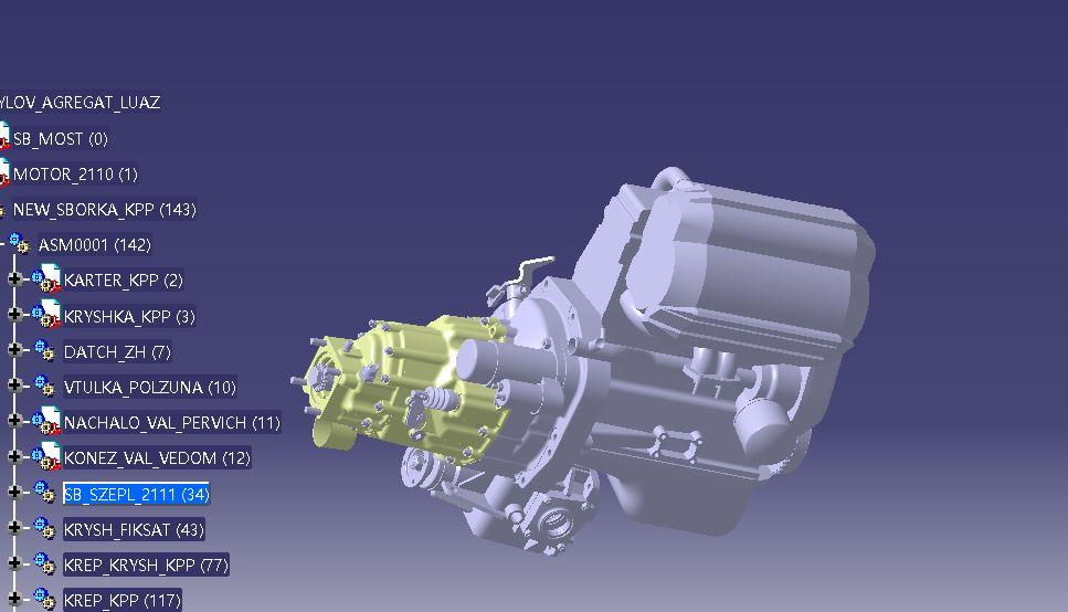 一款发动机离合器变速箱外观图纸3D模型图纸 CATIA设计