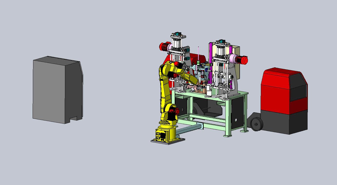 机器人焊接+检测设备3D数模图纸 STP格式