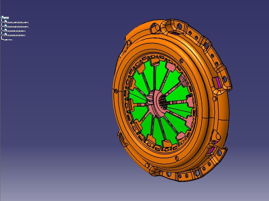 离合器总成3D模型图纸 CATIA设计