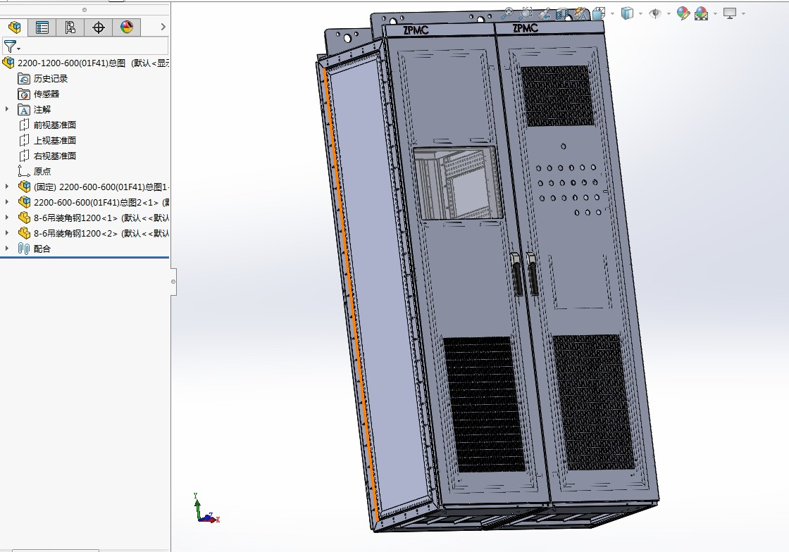 GGD网络机柜2200-600-600 3D模型图纸 Solidworks设计