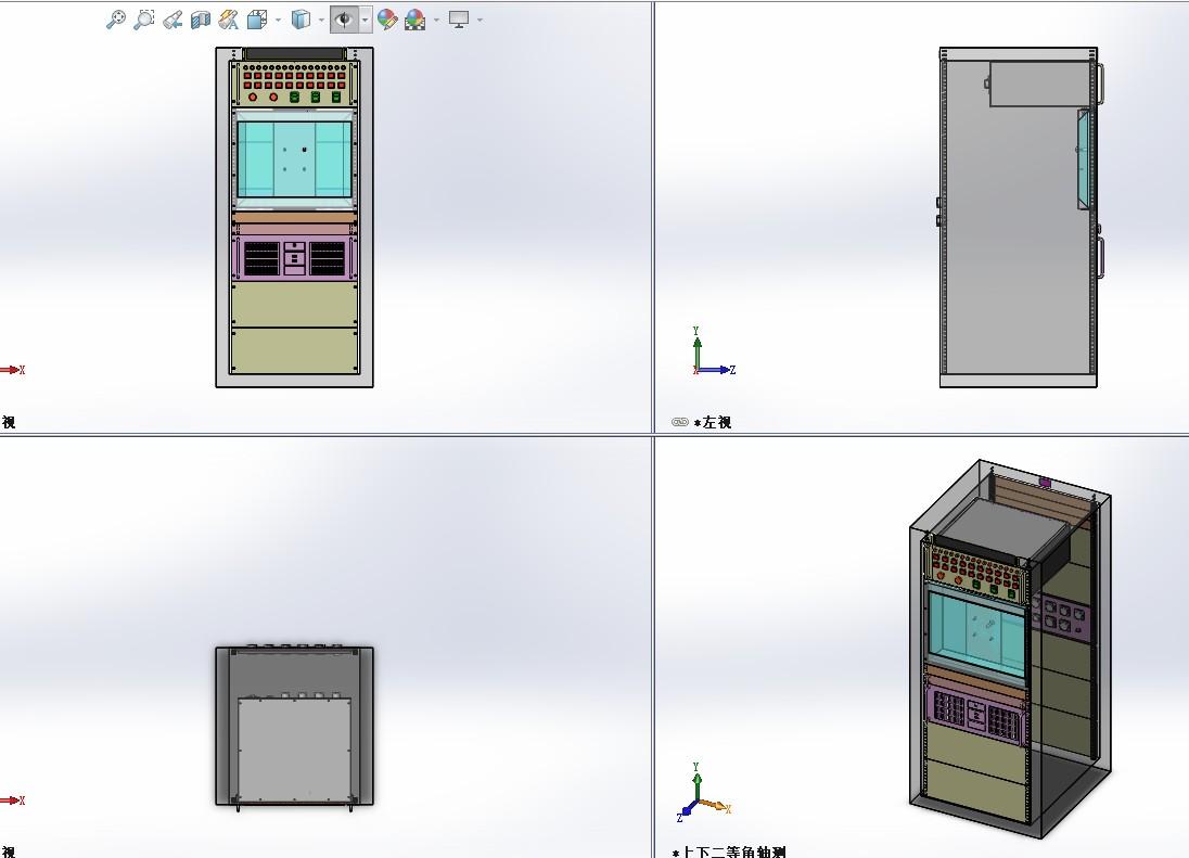 27U机柜外壳3D模型图纸 Solidworks设计