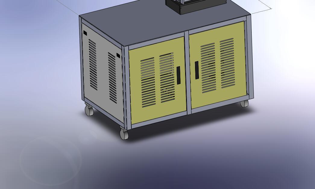 某测试机柜带13U机柜 19寸机柜体3D模型图纸 Solidworks设计