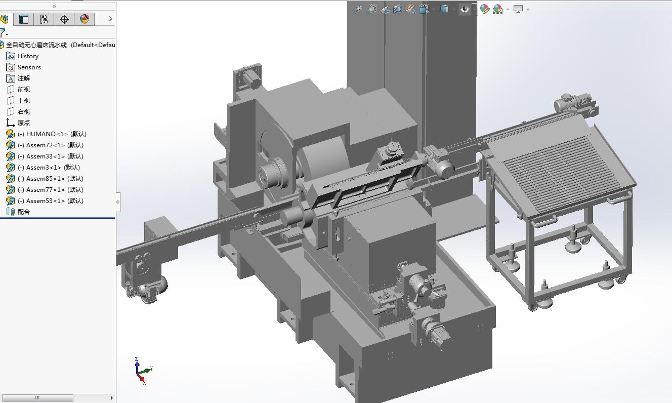 全自动无心磨床流水线3D模型图纸 Solidworks设计 附STP格式