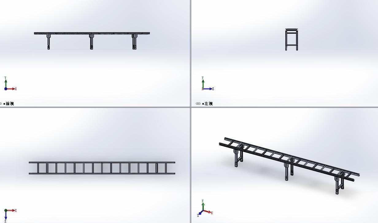 无动力钣金输送架3D模型图纸 Solidworks设计