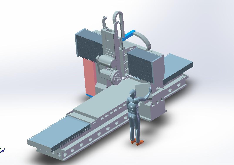 龙门磨床3D模型图纸 x_t格式