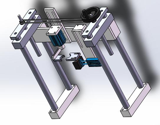 链接机器尾端的气动自动压盖机(用于输送带上)3D图纸 Solidworks