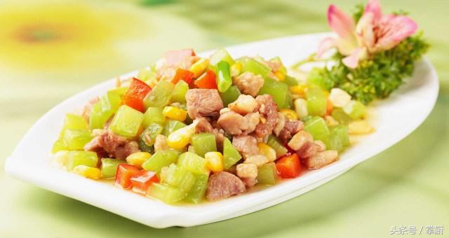 金牌美食之徽菜:莴笋玉米鸭丁,居家日常混杂小炒