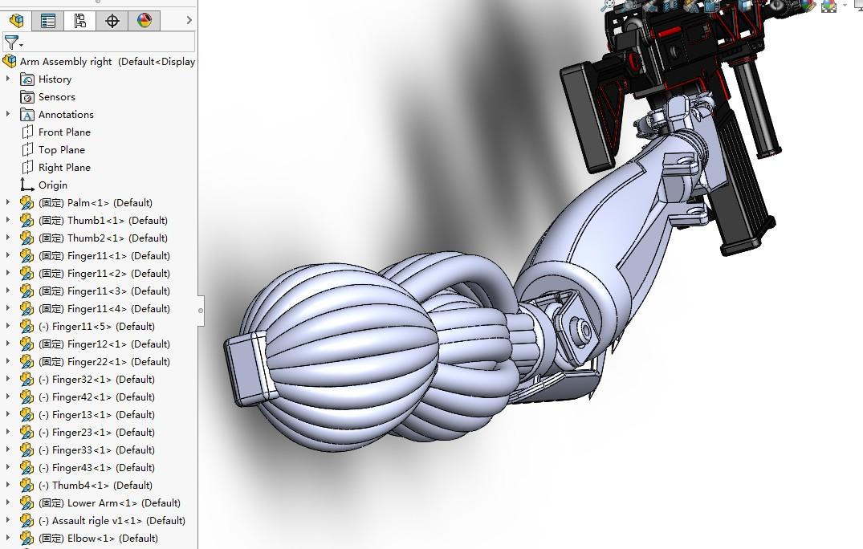 右手臂假肢模型3D图纸 Solidworks设计