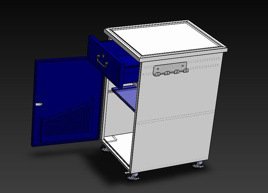 文件柜手推式3D数模图纸 Solidworks设计