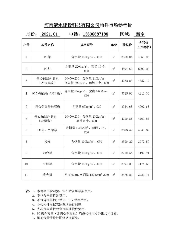 河南省装配式建筑预制构件市场ξ参考价(2021年1月)