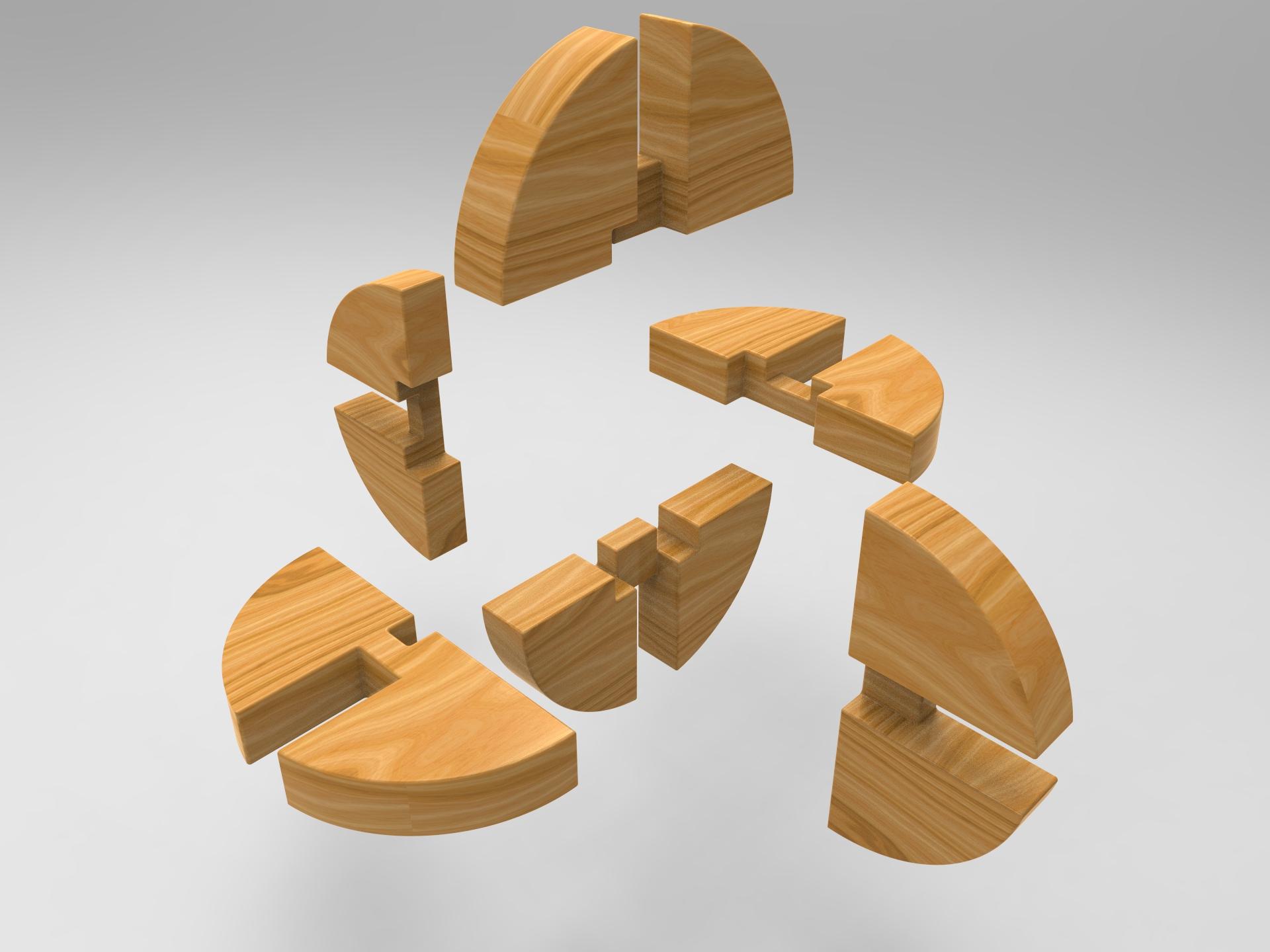 鲁班锁鲁班球模型3D图纸 Solidworks设计