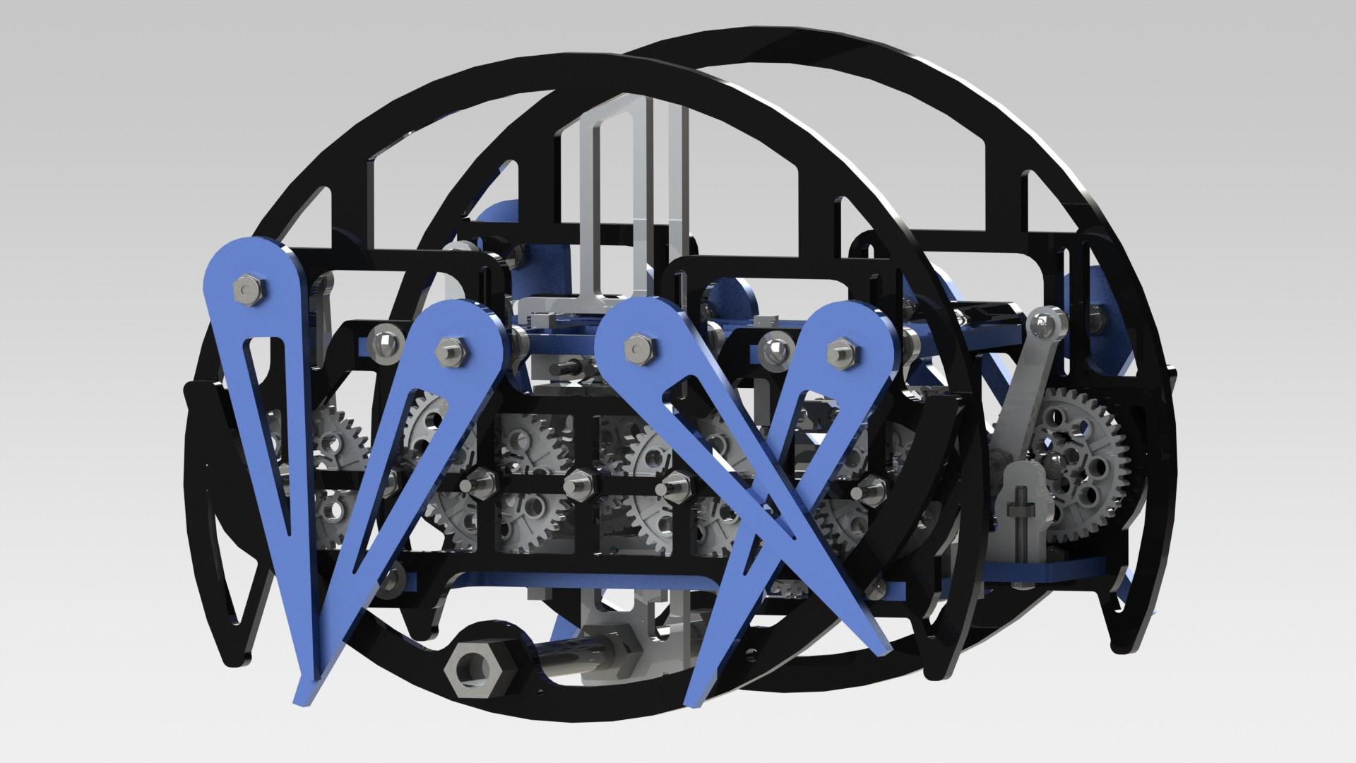 仿生蜘蛛可步行可翻滚机器人3D图纸 Solidworks设计