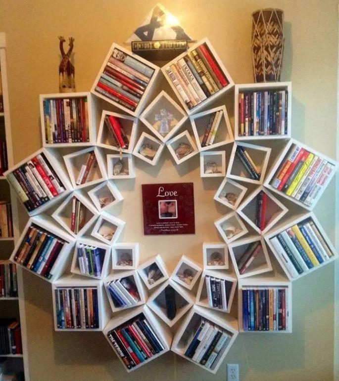 自己动手做个花瓣样式书架,一点也不比买的差,收纳空间也很足