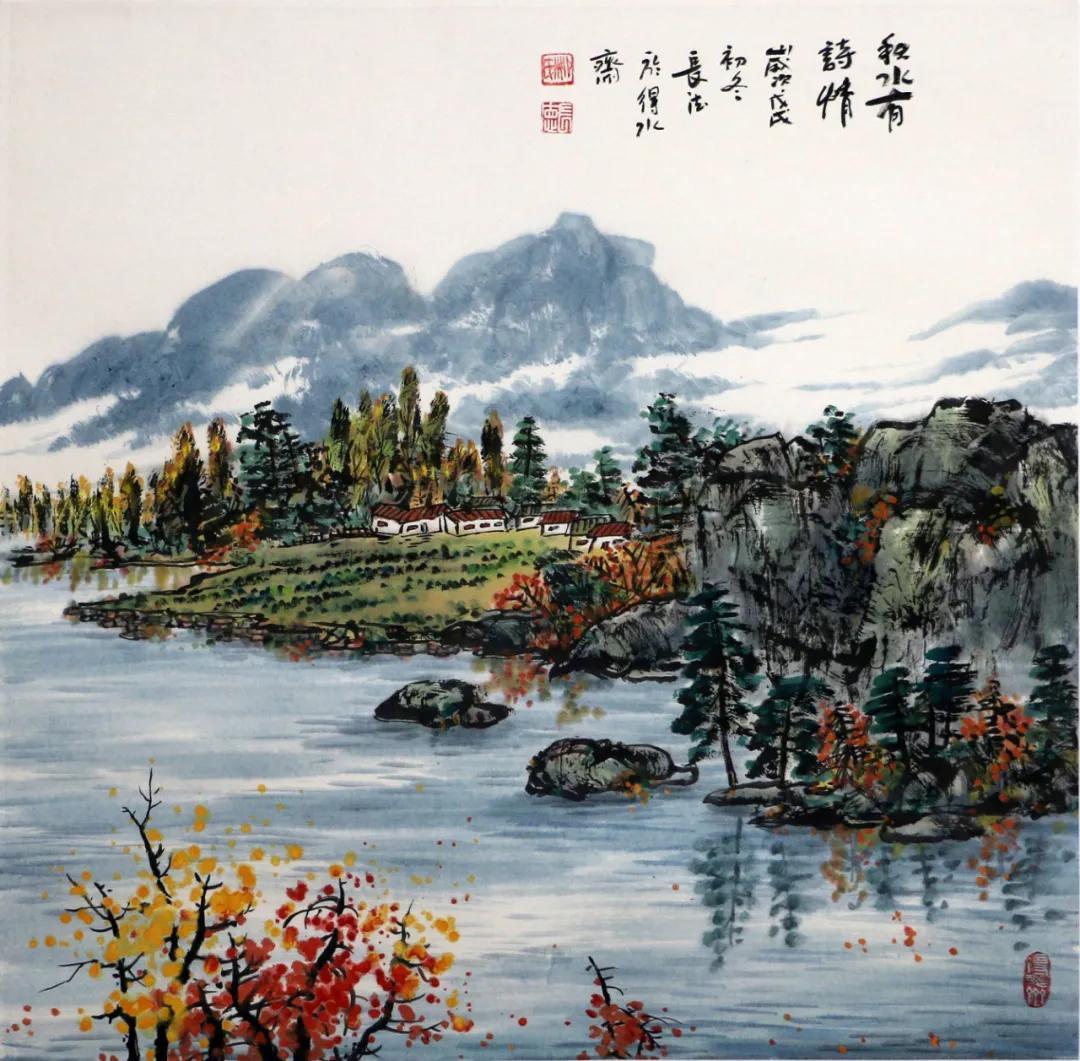 柳长德的山水画色调清新,