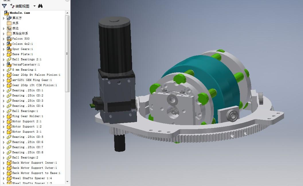 Falcon in Wheel Swerve小车转向机构3D图纸 INVENTOR设计 附STP