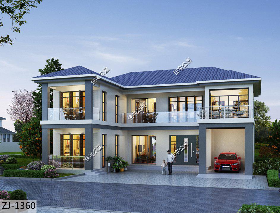 坐南朝北,16×15米二层现代美宅,阳光房+车库+地下室